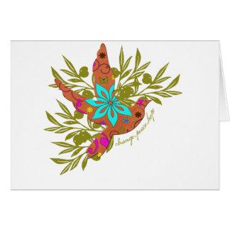Cartão Mudança, paz, esperança {ramo de oliveira e pomba}