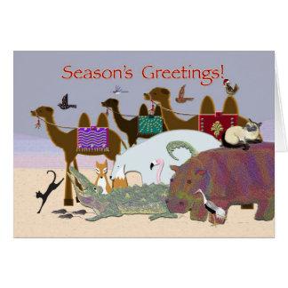 Cartão Muitos animais boas festas