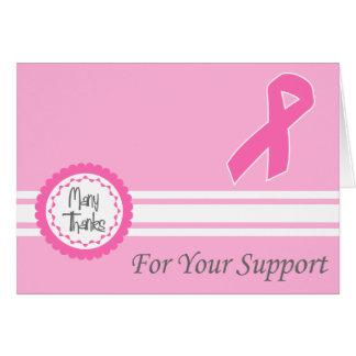 Cartão Muitos obrigados para seu apoio (fita cor-de-rosa)