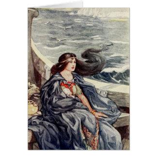 Cartão Mulher à deriva no mar -
