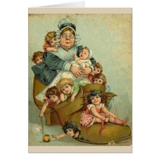 Cartão Mulher adulta que viveu em uns calçados,