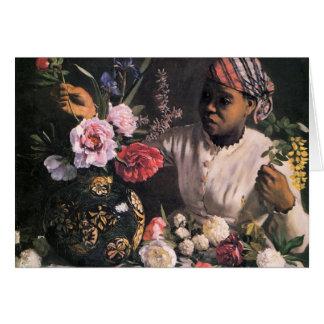 Cartão Mulher africana que planta flores em um vaso