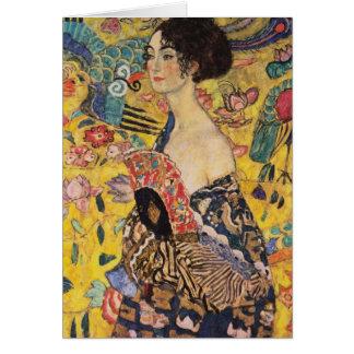 Cartão Mulher bonita com o fã por Klimt