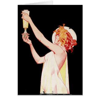 Cartão Mulher com o absinto no fundo preto