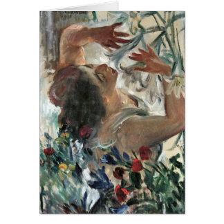 Cartão Mulher com os lírios na estufa - Lovis Corinth