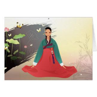 Cartão Mulher coreana que veste um hanbok