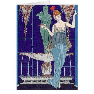 Cartão Mulher de Deco no azul