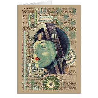 Cartão Mulher de Steampunk da metrópole