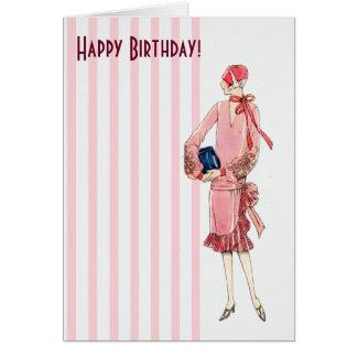 Cartão Mulher do 1920 do vintage no feliz aniversario do