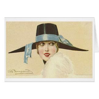 Cartão mulher do 1920 no chapéu negro,