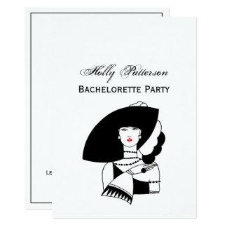 Cartão Mulher do art deco nas luvas grandes RL do chapéu