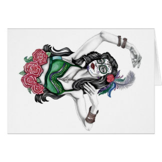Cartão Mulher do crânio do açúcar com rosas