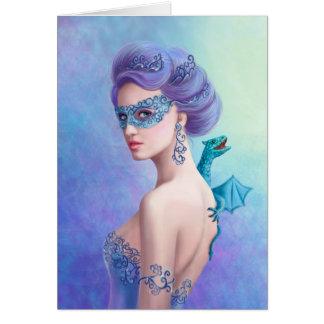 Cartão Mulher do inverno da fantasia do cartão, bonita