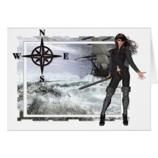 Cartão Mulher do pirata com design das águas ásperas