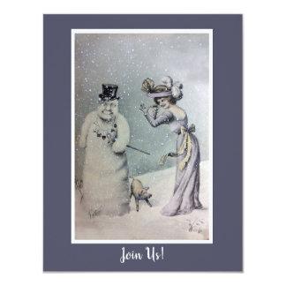 Cartão Mulher do Victorian & boneco de neve