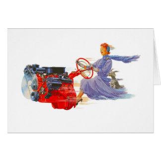 Cartão Mulher do vintage do kitsch que conduz o motor