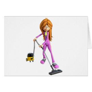 Cartão Mulher dos desenhos animados que usa um vácuo