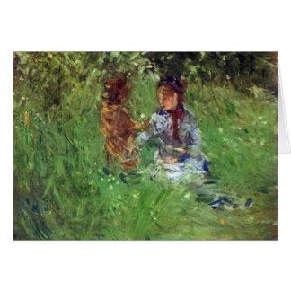 Cartão Mulher e criança no jardim em Bougival por Morisot