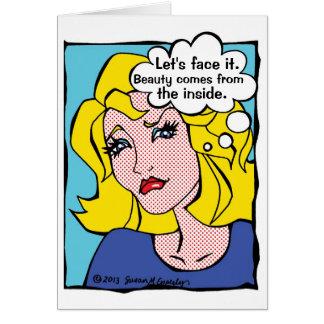 Cartão Mulher engraçada da banda desenhada do