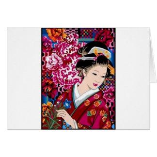 Cartão Mulher japonesa do vintage no quimono
