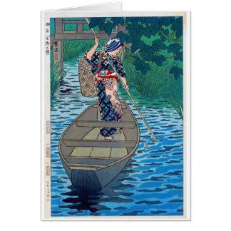 Cartão Mulher japonesa oriental legal da pesca do barco