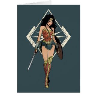 Cartão Mulher maravilha com arte cómica da espada
