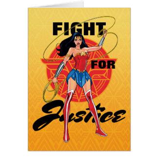 Cartão Mulher maravilha com laço - luta para justiça