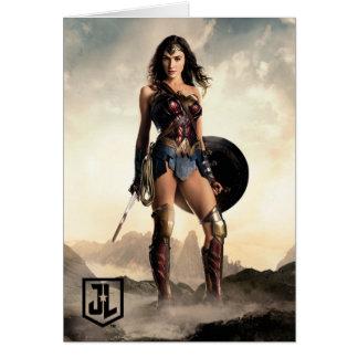 Cartão Mulher maravilha da liga de justiça | no campo de