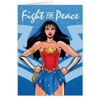 Cartão Mulher maravilha - luta para a paz