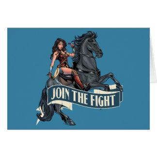 Cartão Mulher maravilha na arte cómica do cavalo
