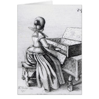 Cartão Mulher que joga em um teclado, 1635