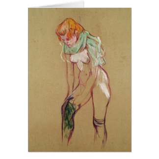 Cartão Mulher que levanta sua meia, 1894 (óleo no cartão)