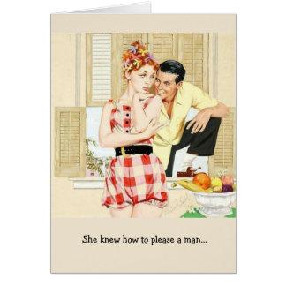 Cartão Mulher retro - como satisfazer um homem,