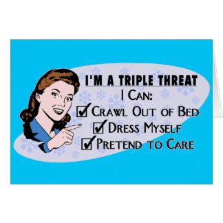 Cartão Mulher sarcástica do 50 retro engraçado: Ameaça