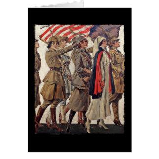 Cartão Mulheres de WWI que nutrem recrutas