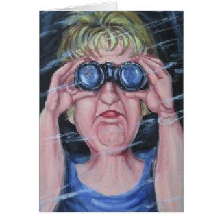 Cartão Mulheres engraçadas com binóculos