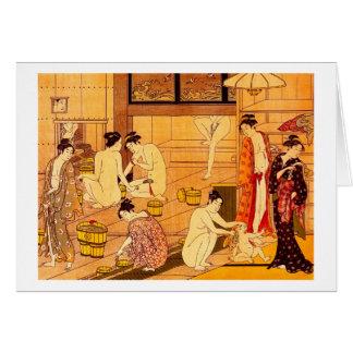 Cartão Mulheres que banham-se, belas artes do japonês de