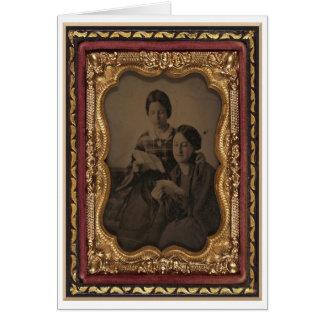 Cartão Mulheres que lêem letras da guerra, retrato do