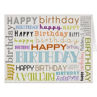 Cartão multicolorido unisex da tipografia do feliz