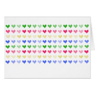 Cartão Multicoloured dos corações