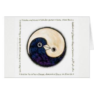 Cartão multilingue da paz das pombas de Yin Yang