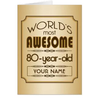 Cartão Mundo da celebração do aniversário do 80 do ouro