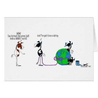 Cartão Mundo engraçado em uns desenhos animados do cavalo