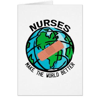 Cartão Mundo Notecard das enfermeiras