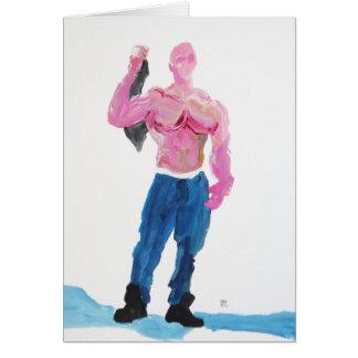 Cartão Muscleman cor-de-rosa que guardara o t-shirt