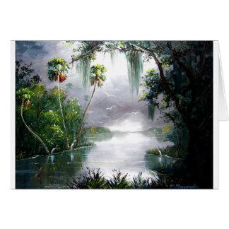 Cartão Musgo enevoado do rio
