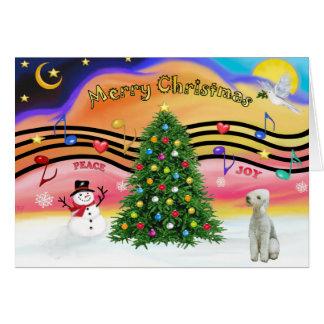 Cartão Música 2 do Natal - Bedlington Terrier