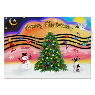 Cartão Música 2 do Natal - Fox Terrier do brinquedo