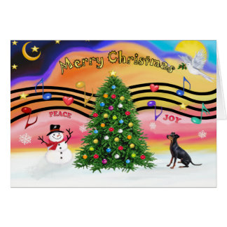 Cartão Música 2 do Natal - Manchester Terrier