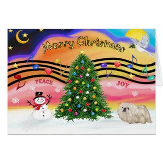 Cartão Música 2 do Natal - Pekingese (branco)